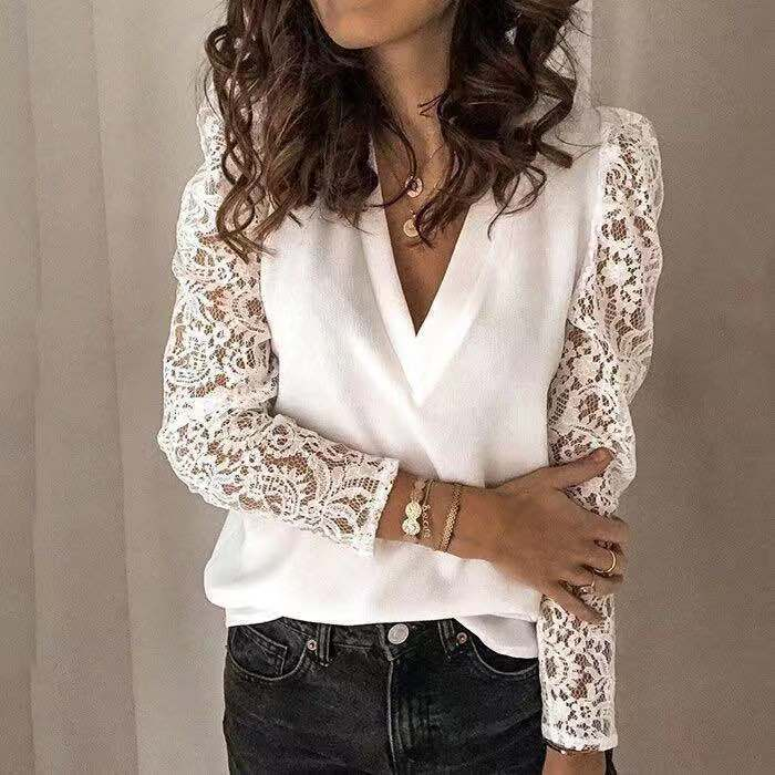 Large size chiffon women blouses 2020 summer new women blouses tops casual V-neck long sleeve high quality lace women shirts