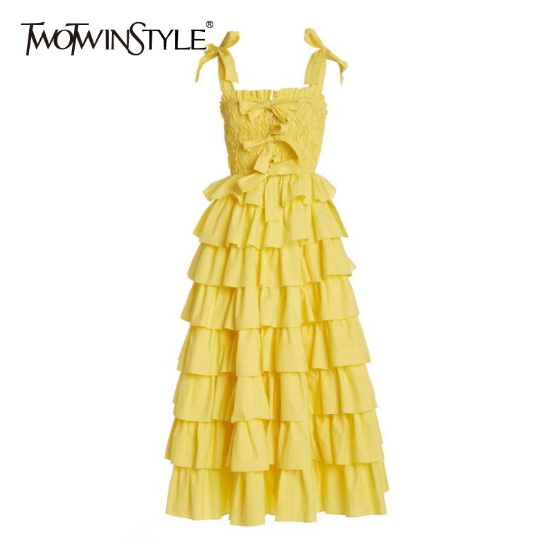 TWOTWINSTYLE Elegant Summer Dress Square Collar Sleeveless Spaghetti Strap High Waist Patchwork Ruffles Bow Dresses Female Tide