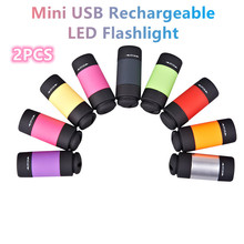 2PCS Mini LED Flashlight USB Rechargeable Portable LED Torch Lamp Camping Light Waterproof Super Bright Light Outdoor Lighting