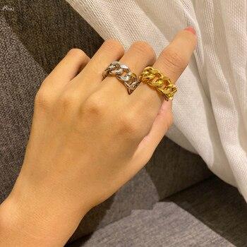 AOMU, 1 unidad, 2020, nuevos anillos de cadena de Metal para mujer, joyería de fiesta, moda, Color dorado, plateado, anillos regalos abiertos