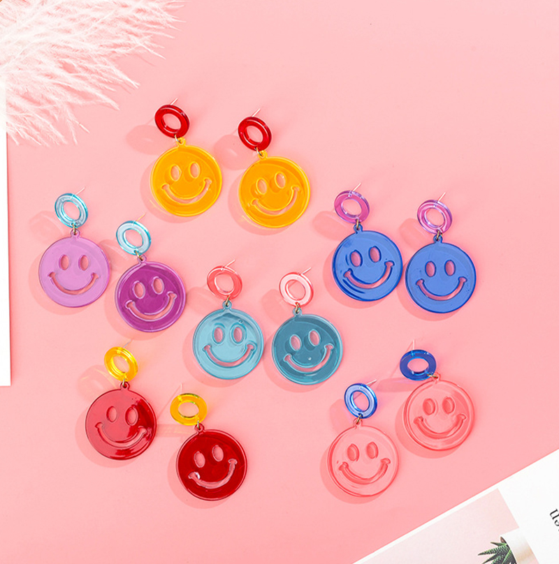 925 Korean Creative Cute Smiley Earrings Exaggerated Transparent Acrylic Earrings