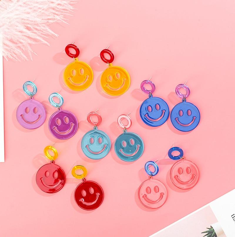925 Korean Creative Cute Smiley Earrings Exaggerated Transparent Acrylic Earrings
