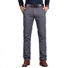 Vomint Pantalones rectos holgados para hombre, pantalón informal, de algodón, a la moda, color verde marrón y gris, 2019