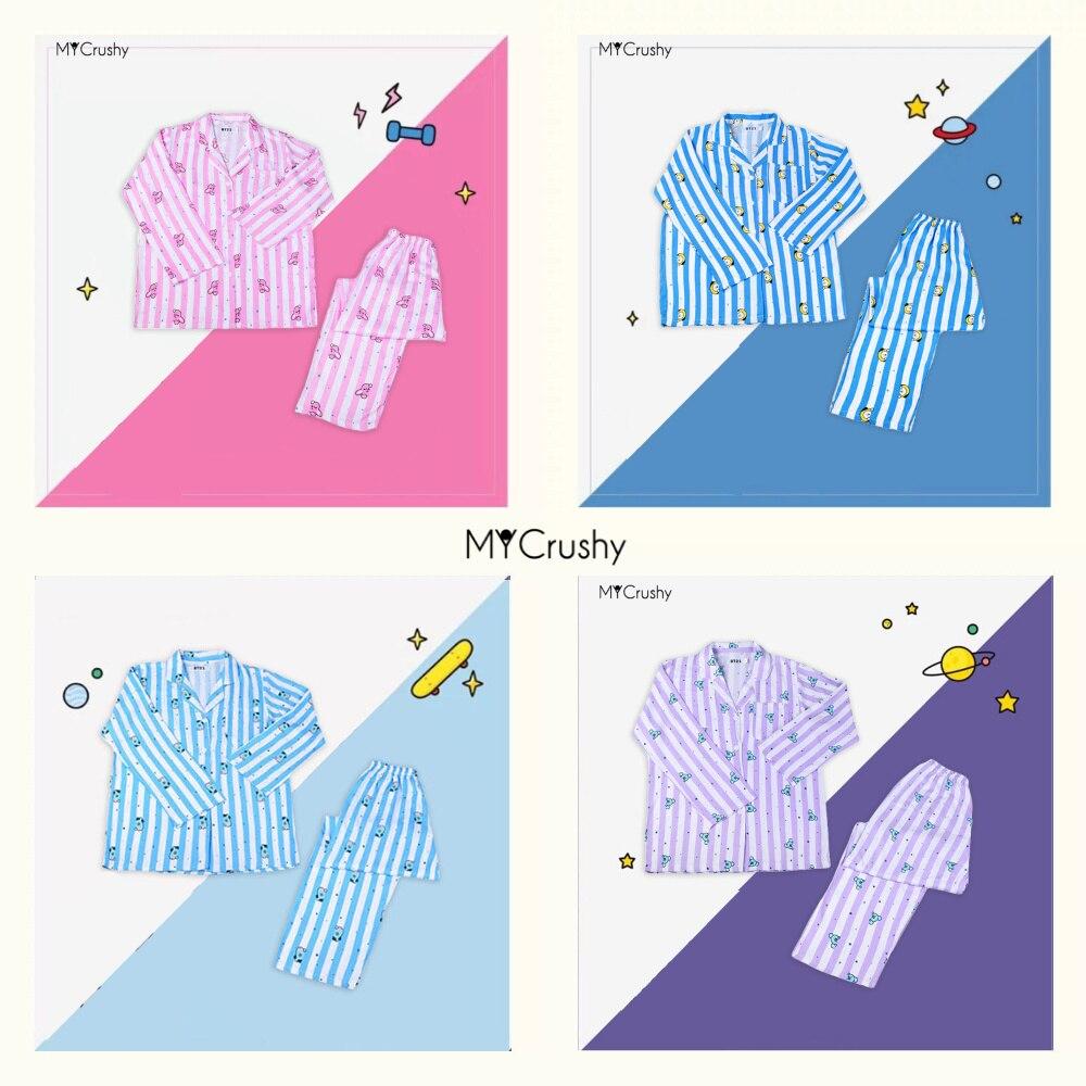 Пижамный костюм, симпатичная кавайная одежда для сна для женщин и мужчин, комплект одежды для спальни Bangtan Boys RM Jin Suga JHope Jimin V Jungkook Kpop Merch