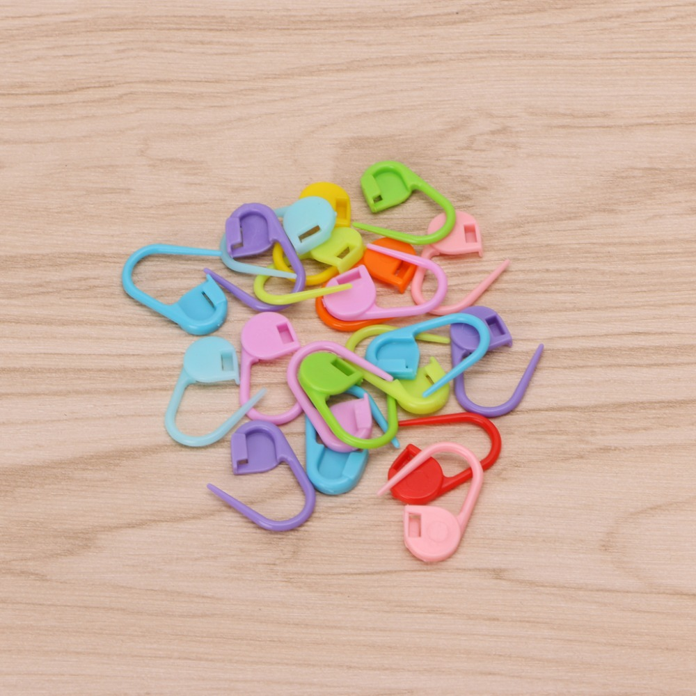 20Pcs Colorful Knitting Stitch Markers Crochet Locking Tool Craft Ring Holder