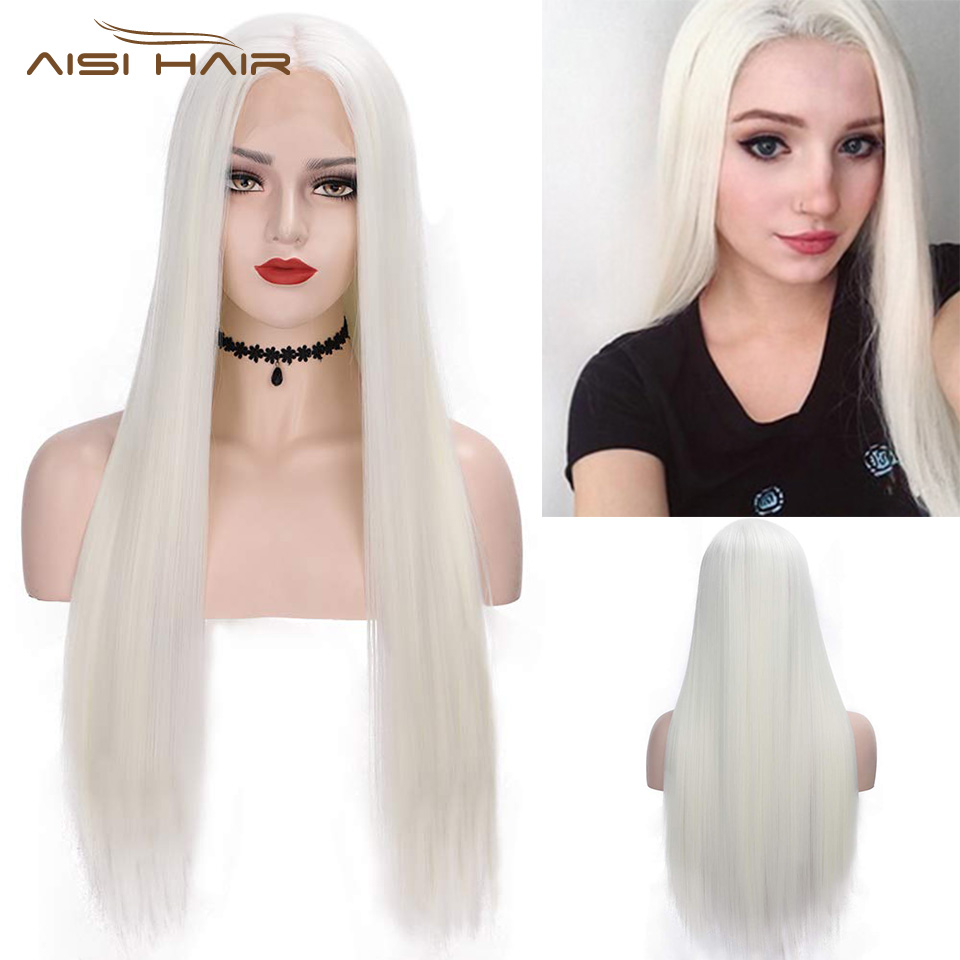 I's A Wig 13x4 White Color Synthetic Lace Front Wigs Long Straight Cosplay Wig For Women 60/613 Blonde MIddle Part Nature Hair