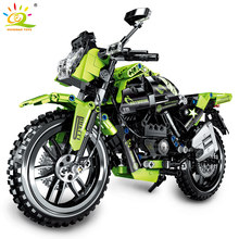 HUIQIBAO 518Pcs City Speed Champion Motorbike Building Blocks Technical Off-Road Haulage Motor Motorcycle Race Bricks Toys Child