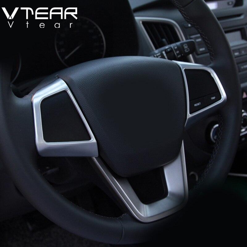 Vtear-molduras para interior de coche, botones de volante para hyundai creta ix25, Marco embellecedor de cubierta, molduras ABS cromadas, 2018 2019
