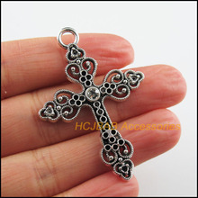 6 New Cross Charms Clear Crystal Heart Pendants Tibetan Silver Color 34.5x50mm
