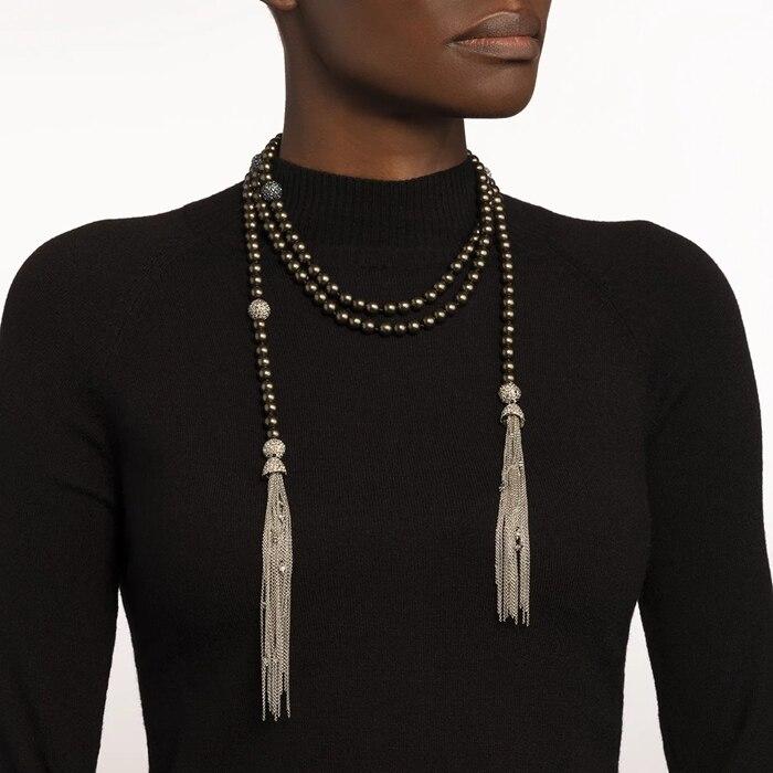 Intemporel merveille superbe Malachite verre perle pierre gland collier femmes bijoux Punk gothique piste Boho polyvalent haut 2532