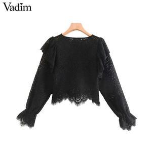 Image 1 - Vadim נשים בציר תחרה עיצוב חולצה ארוך שרוול ראפלס לראות דרך חולצה נקבה אופנתי חולצות blusas LB632