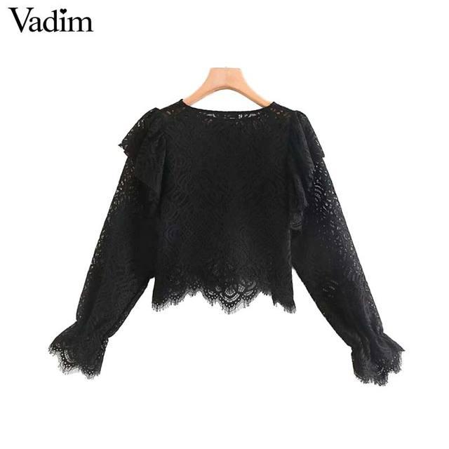 Vadim נשים בציר תחרה עיצוב חולצה ארוך שרוול ראפלס לראות דרך חולצה נקבה אופנתי חולצות blusas LB632