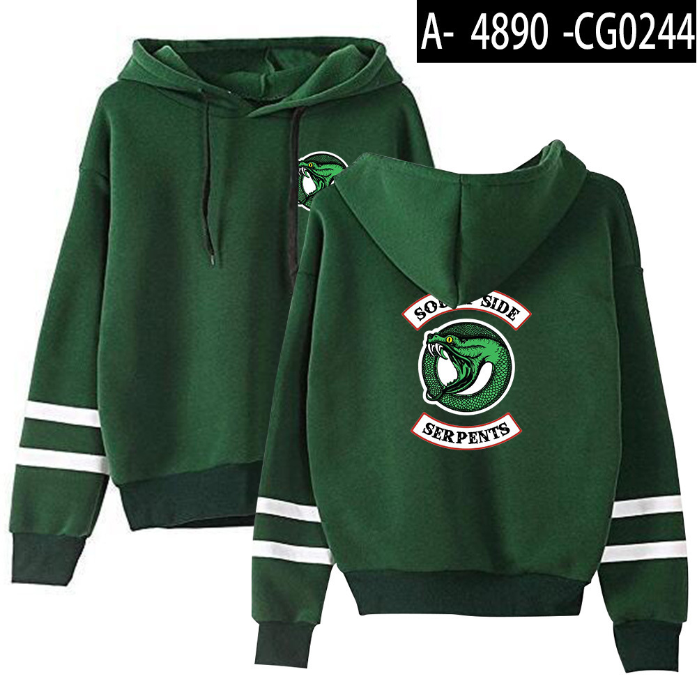 Riverdale Southside Serpents Hoodies Sweatshirts MenS Women South Side Serpents Hoodie Long Sleeve Striped Pullover Top Oversize 10