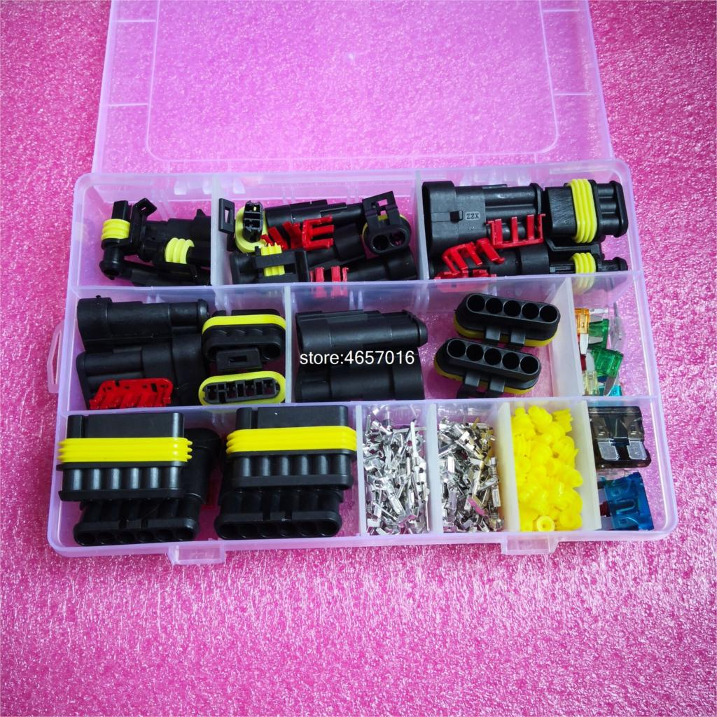 Free Shipping 240Pcs/box Superseal AMP/Tyco Waterproof 12V Electrical Connectors Kit 1/2/3/4/5/6 Way Pin