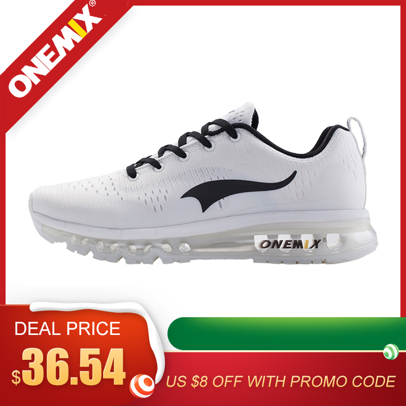 ONEMIX New 2020 Original Brand Men's Running Shoes Outdoor Breathable Mesh Sneaker Athletic Sports Shoes Black White Sneakers