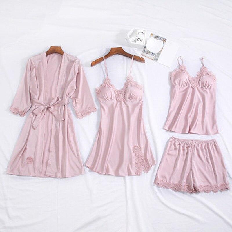 QWEEK 2019 Satin Sexy Lace Pajamas Four-piece Set Pyjama Silk Homewear Spaghetti Strap Pijama Women Sleepwear With Chest Pads