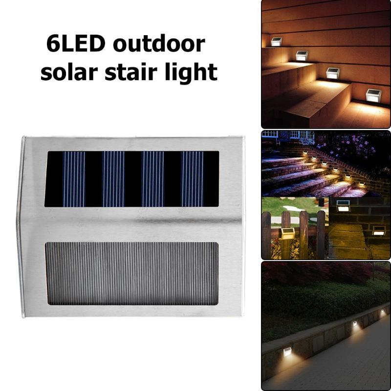 1/2/3/4Pcs 3/6LED Waterproof Solar Light Outdoor Solar Power Stair Light Garden Pathway Street Lamp Warm Cold White Wall Lights