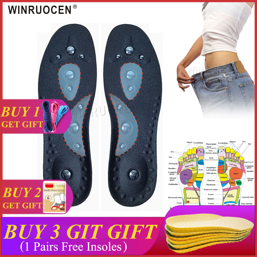Magnetic Therapy Slimming Insoles For Weight Loss Foot Massage Man/Women Health Care Shoes Mat Pad Brown Acupuncture Sole Insert