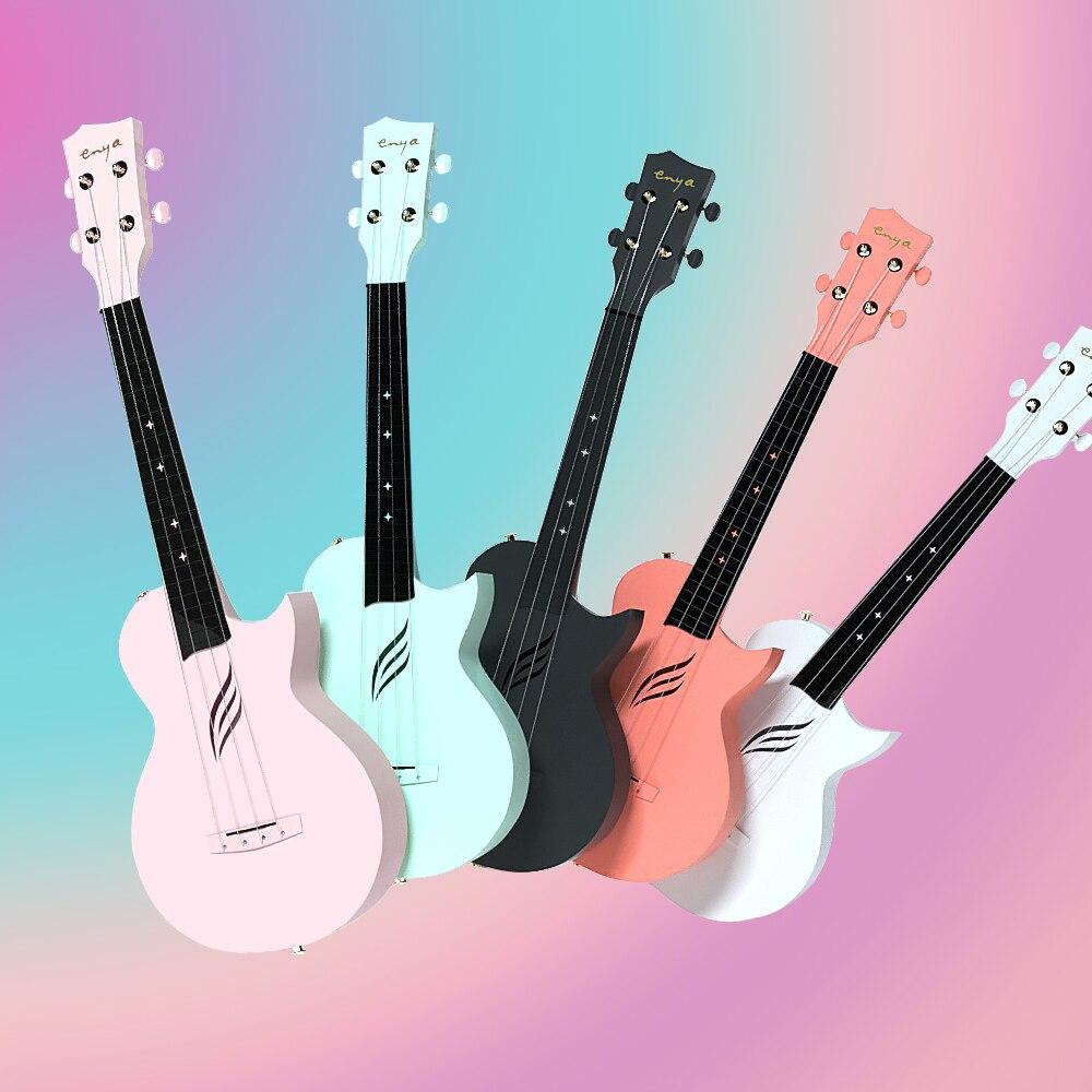 Enya Ukulélé Concert NOVA U En Fiber De Carbone Ukulele Débutant Kit Instruments à Cordes Hawaï Mini Guitare avec Semi-étui rigide Sangle