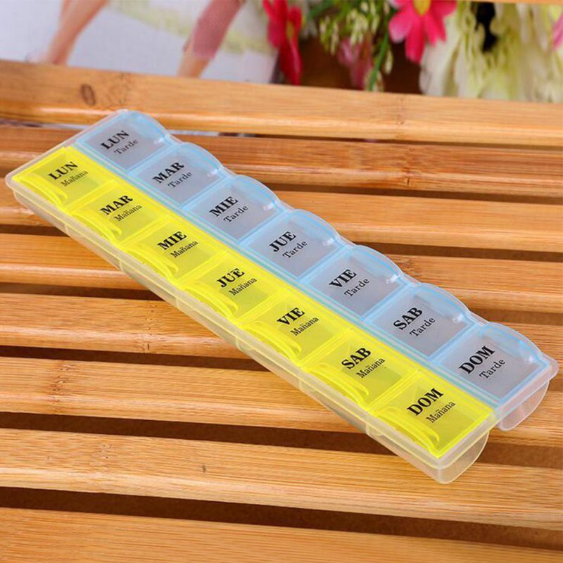 2 Colors Weekly 7 Days Tablet Drugs Storage Box Medicine Holder Container Organier Pillbox Sorter 14 Slots