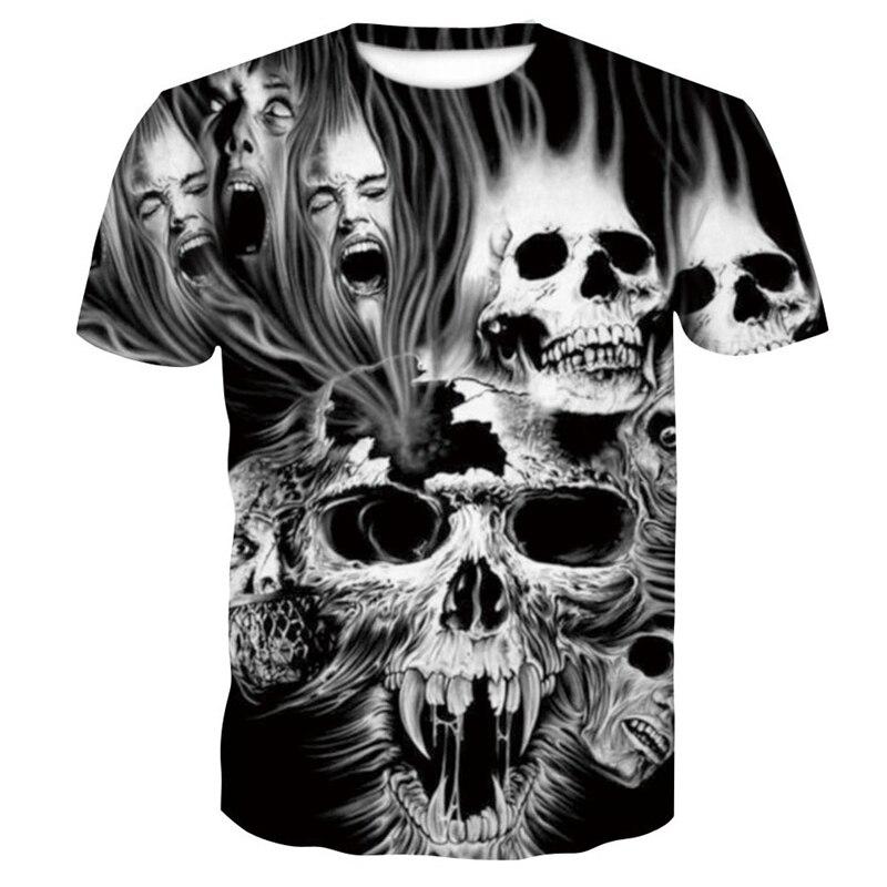 Summer Skull Print T-shirt Horror Pattern Tops Tees Fashion Harajuku Short Sleeve 3D Animal Wolf T Shirt Hip-hop Clothing 4XL