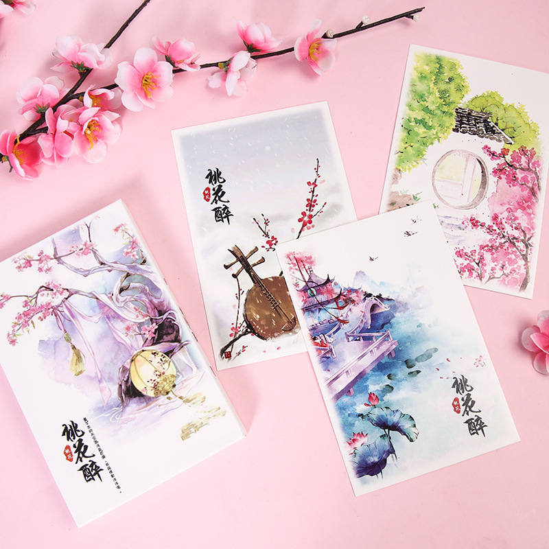 30 Sheets/Set  Japanese Cherry Blossom Season Postcard DIY Greeting Cards Birthday Gift Card Message Card