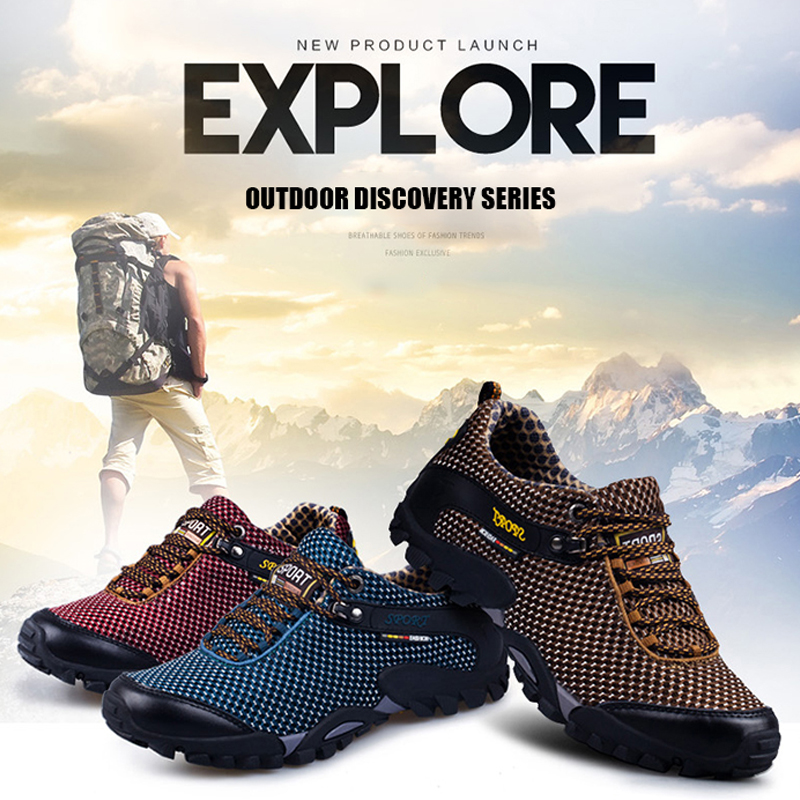 New Spring Men Hiking Shoes Waterproof Anti-Skid Outdoor Trekking Sneakers High Quality Climbing Sports Shoes Large Size 39~47