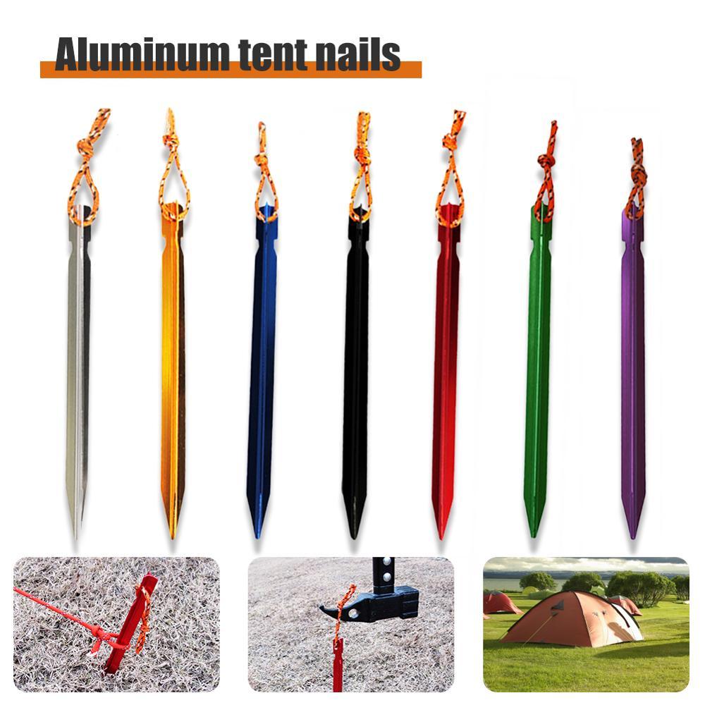 10 шт 18 см тент колышек для ногтей из алюминиевого сплава с веревкой для кемпинга оборудование для путешествий на открытом воздухе палатки д...
