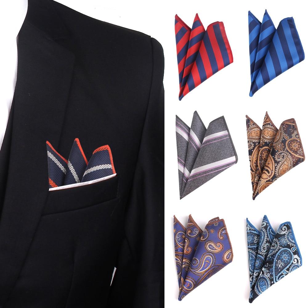Jacquard Paisley Handkerchief Striped Pocket Square For Wedding 25cm*25cm Hankies For Men Brand Suits Pocket Towel Hanky