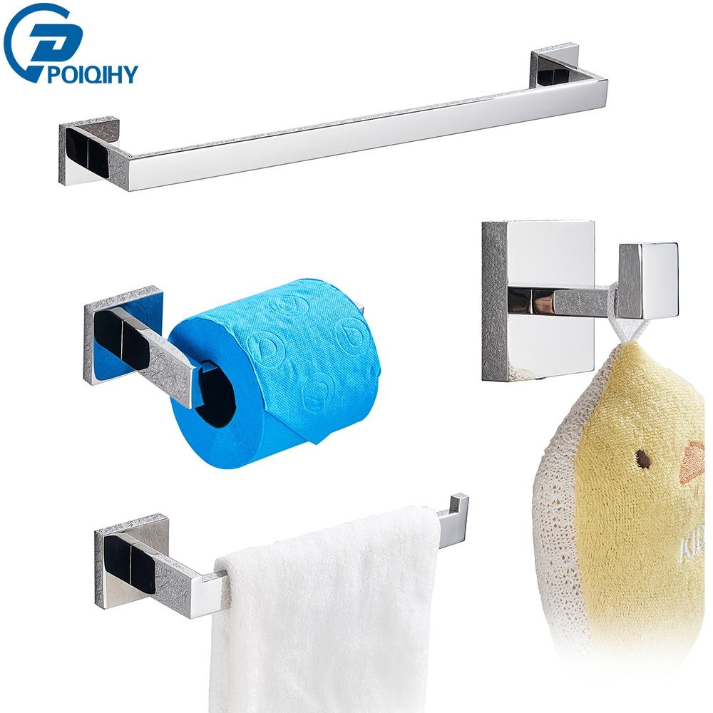 POIQIHY Bathroom Hardware Set Chrome Robe Hook Towel Rail Bar Shelf Tissue Paper Holder Wall Mounted Bathroom Accessories