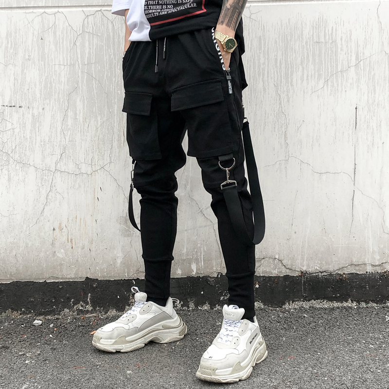 Multi-Pocket Pencil Pants Mens Hip Hop Patchwork Cargo Ripped Sweatpants Joggers Trousers Male Fashion Casual Full Length Pants