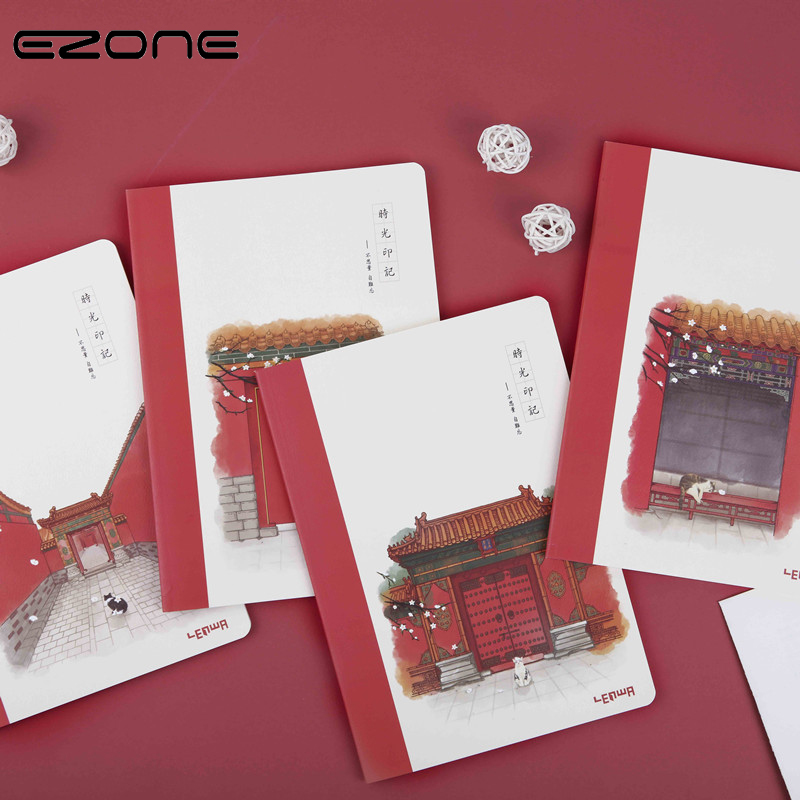 EZONE 1PC B5 Hand-painted Forbidden City Pattern Notebook Cartoon Cat Series Notebook Students School Office Supply Stationery