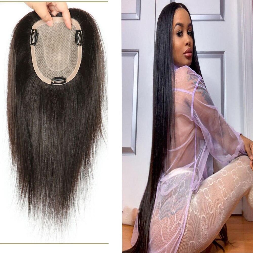 Topper Hair 120% Density Clip In Toupee Hair For Women Human Hair Toupee Virgin Hair 16*18 Silk Base Natural Color
