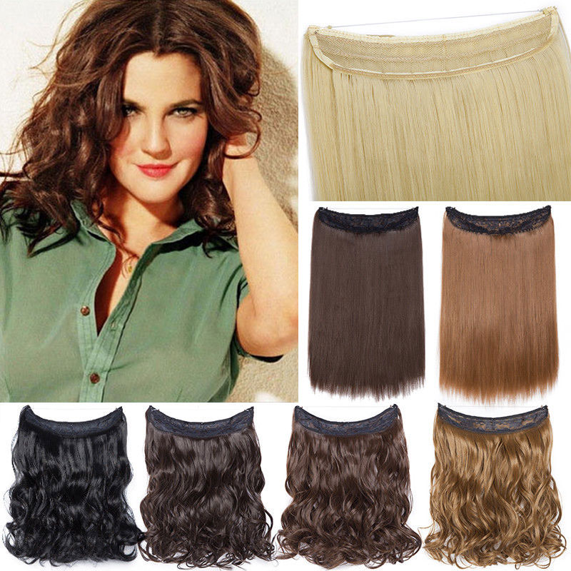 Snolilite 16inch Invisible Halo Hair Extension One Piece No Clip Hair Synthetic Natural Hair Hairpiece For Women
