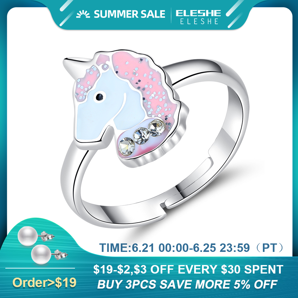 ELESHE Authentic 925 Sterling Silver Fine Rings for Girls Kids Children Pink Enamel Cute Unicorn Finger Rings Party Jewelry Gift