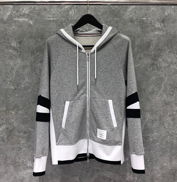 2020 Fashion TB THOM Brand Hip Hop hooded Clothing Cotton Jacket Men Women Sweatshirts Hoodies Patchwork Casual Sportswear Coat