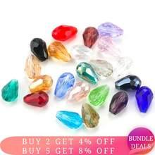Top Quality 6X8 MM, 8X10 MILÍMETROS de Cristal Forma de Gota de Lágrima Contas de Vidro Solta Pérolas Spacer Rodada Beads Para F