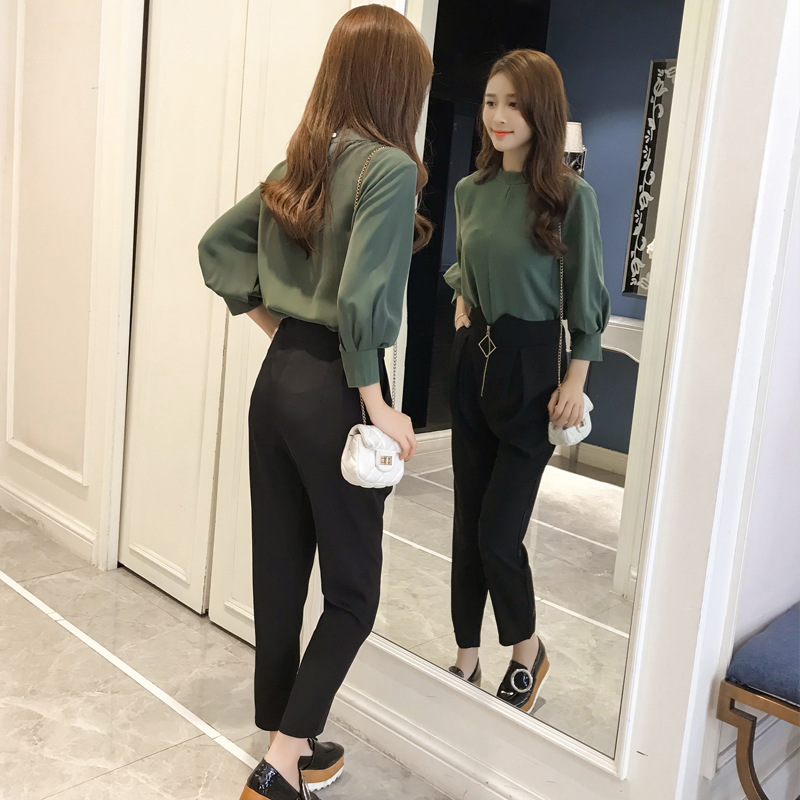 2019 Spring Korean-style Fashion Elegant Soft Girl Set High Waist Pants Two-Piece Set