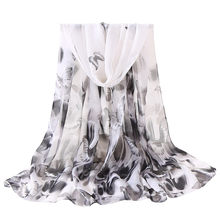 Chinese Ink Style Chiffon Muslim Butterflies Printing Long Soft Wrap white Scarf Fashion Women Shawl Scarves sciarpa donna(China)