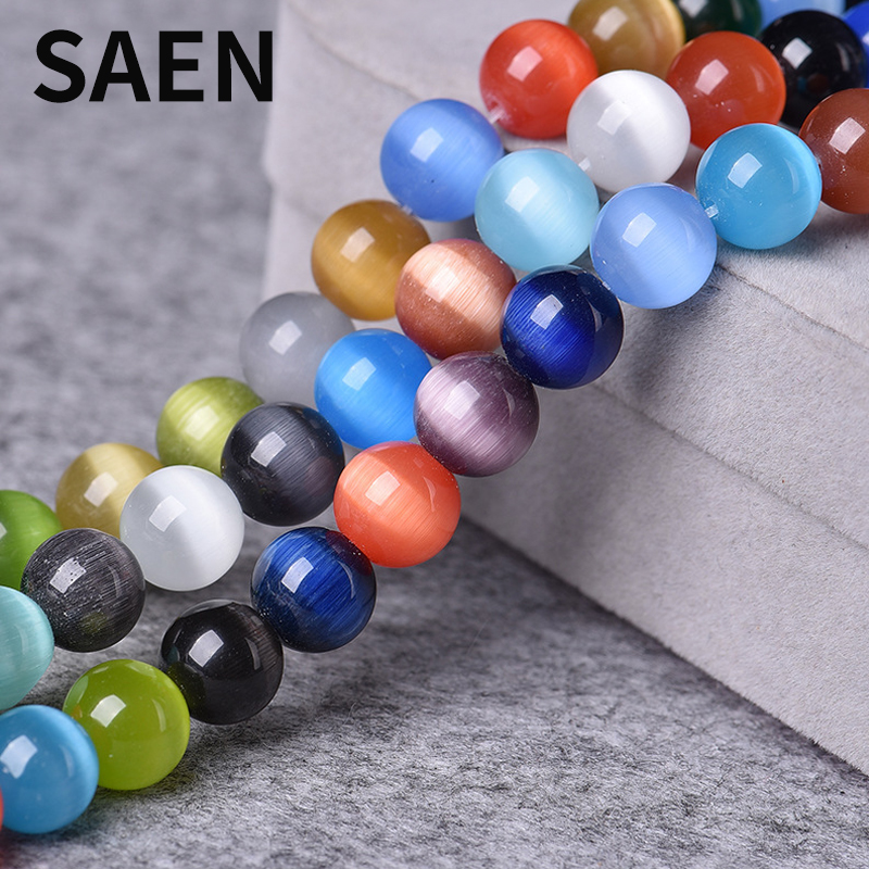 SAEN High Quality 4/6/8/10/12mm Round String Opal Loose Glass Cat Eye Beads For Women Jewelry Making Colorful Crystal Stone DIY