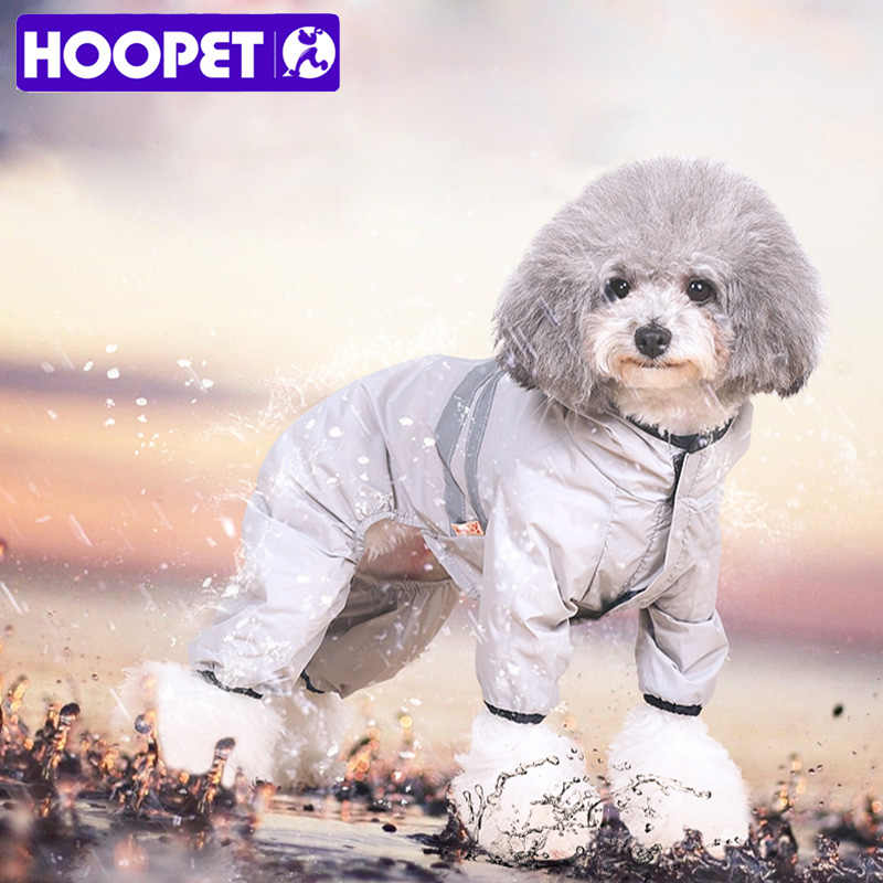 Hoopet Gray Smooth Riancoats Pome ranian  Teddy Pet Spring Summer waterproof clothes nightwalk safety for dogs