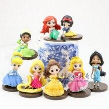8 pçs/pçs/set disney princesas pvc modelo neve branca cinderela ariel belle ocidental animiation figurinhas crianças brinquedos decoração do bolo