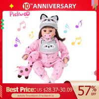 Pickwoo linda princesa corpo de algodão reborn boneca do bebê macio vinil inteligente sensing lifelike bonecas meninas boneca para crianças