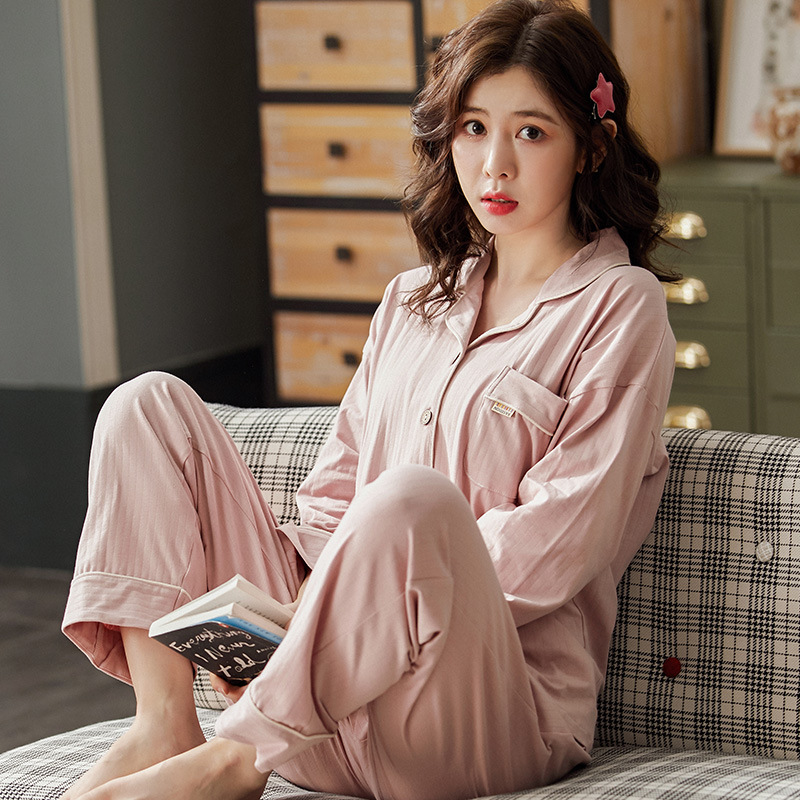 Sping Autumn Women's Sleepwear Pajamas Set Cotton Long Sleeved V-neck Pajamas Home Wear Leisure Clothes Solid Color Nightwear 3
