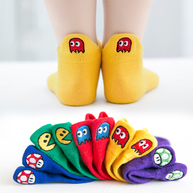 5 Pairs Lot Baby Short Cotton Socks Toddler Boys Girls Summer Mesh Thin Sock Kids Children Funny Dinosaur Sneaker Superman Sock