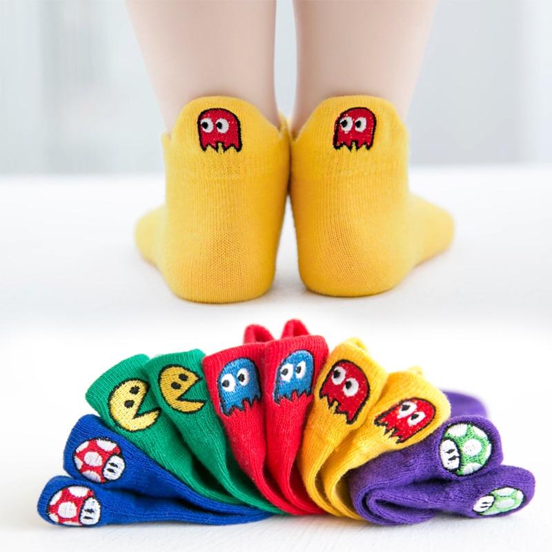 5 Pairs Lot Baby Short Cotton Socks Toddler Boys Girls Summer Mesh Thin Sock Kids Children Funny Dinosaur Sneaker Superman Sock
