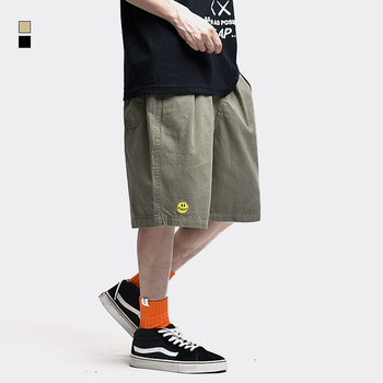Smiley Cargo Shorts Men Summer Streetwear Casual Elasticated-waist Straight Canvas Short-pants 1
