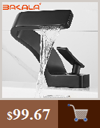 H322bc8ac2dbf42818eab52606cf7d3ef9 BAKALA Luxury Matte Black Bathroom Faucet Basin Sink Tap Wall Mounted Square Brass Mixer Tap LT-320BR