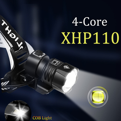 1000000LM XHP110 Powerful Lantern Headlamp XHP90.3 LED USB Flashlight XHP50.2 Headlight Rechargeable18650 Zoom Head Torch Light