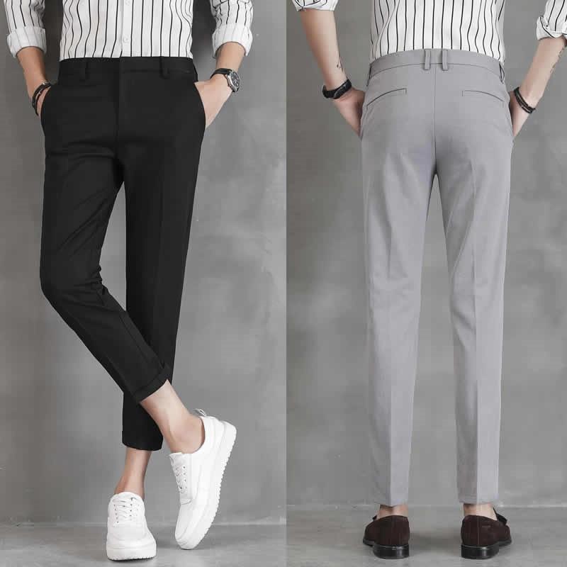 Autumn Drape Pants Men's Nine Point Slim Korean Trend Slim Feet Nine Point Pants Casual Men's Suit Pants
